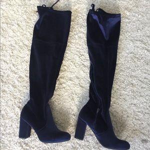 Shoes - Blue velvet boots